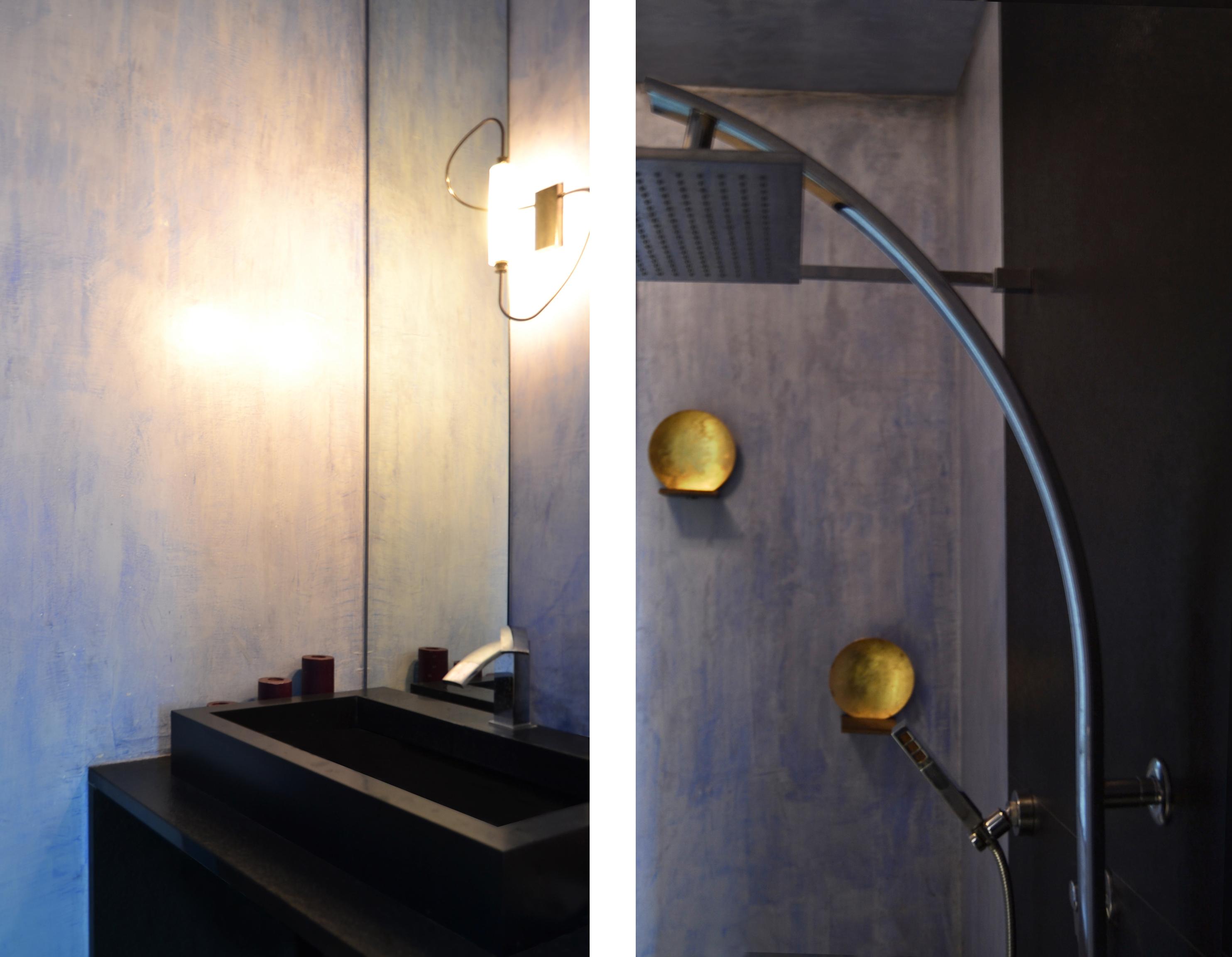 Marble vanity sink - Black Marble Shower - Catellani lights
