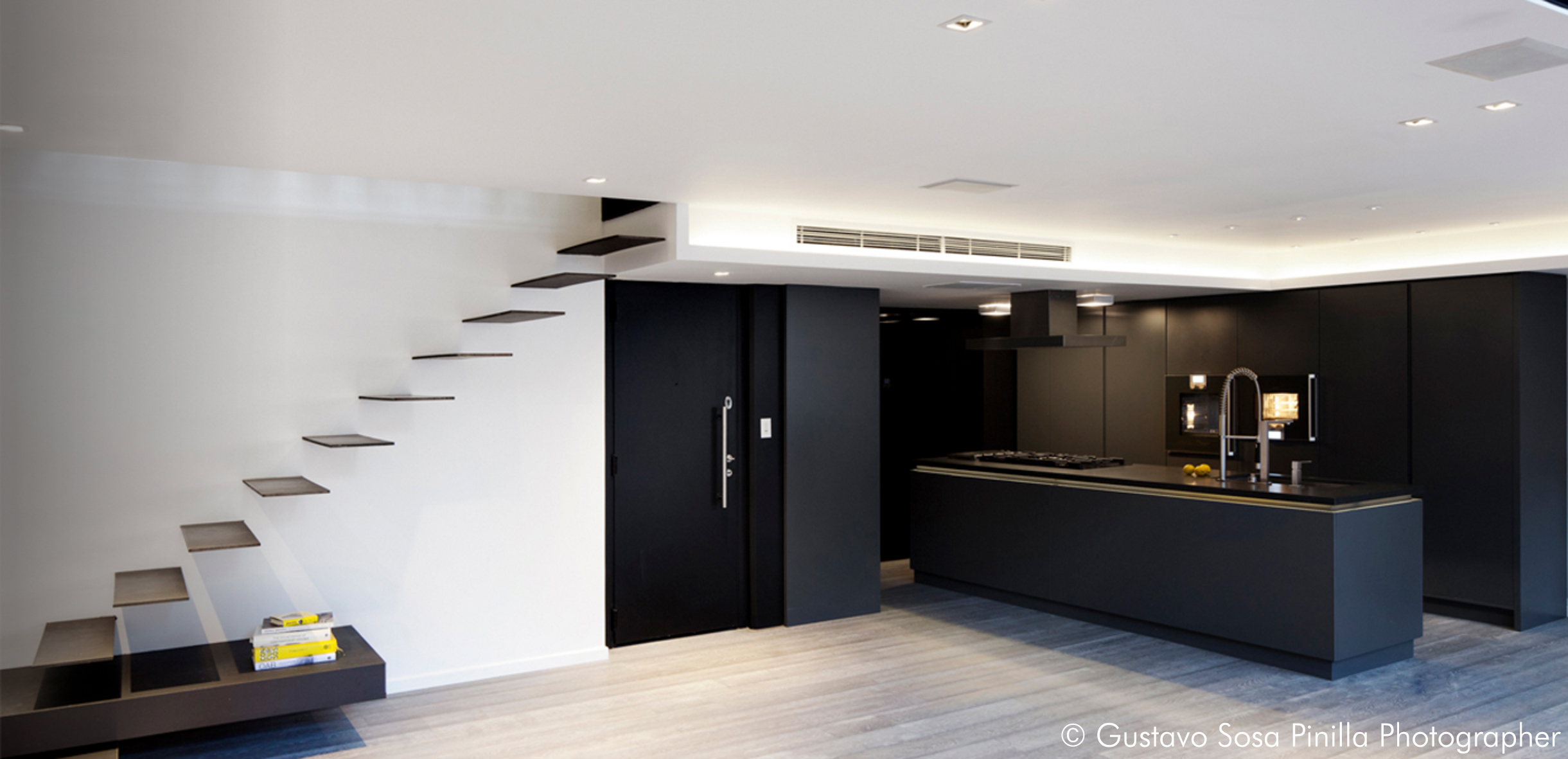 Metal Staircase - Living room - Kitchen Area - Gascon Remy Architect